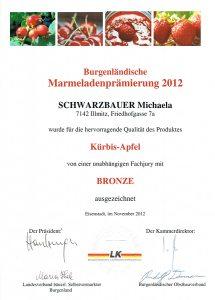 Bronzemedaille Schwarzbauer Kürbis-Apfel 2012