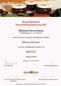 Bronzemedaille Schwarzbauer Pfirsich-Himbeer 2007