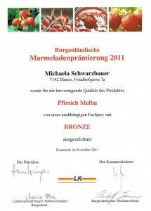 Bronzemedaille Schwarzbauer Pfirsich-Melba 2011