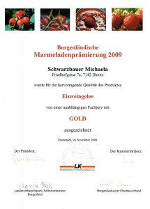 Goldmedaille Schwarzbauer Eisweingelee 2009