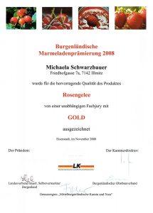 Goldmedaille Schwarzbauer Rosengelee 2008