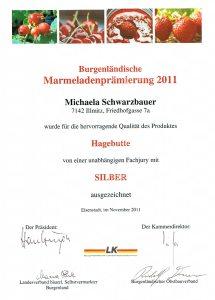 Silbermedaille Schwarzbauer Hagebutte 2011